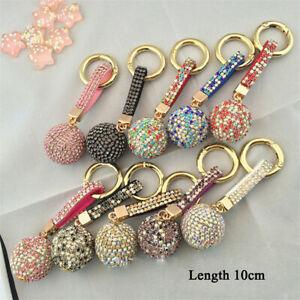 Bling-Rhinestone-Leather-Strap-Crystal-Ball-Car-Keychain-Charm-Pendant-Key-Ring