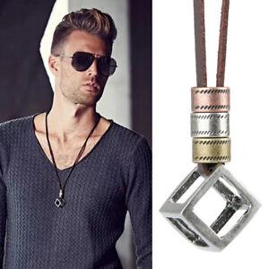 Cool-Men-039-s-Women-039-s-Retro-Leather-Rope-Hollow-Cube-Luxury-Pendant-Choker-Necklace