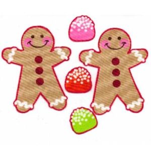 Gingerbread-Men-with-Gumdrops-Iron-On-Fabric-Appliques-Christmas