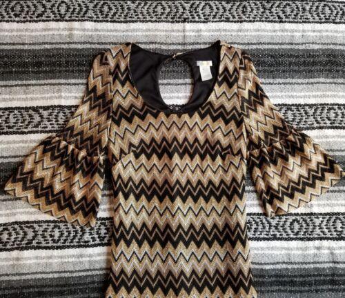 Gomma Bell Dress Sz Ducky Chevron Vtg Coctail Breve Sleeve S Mini Usa oro 5q0xxwpS1