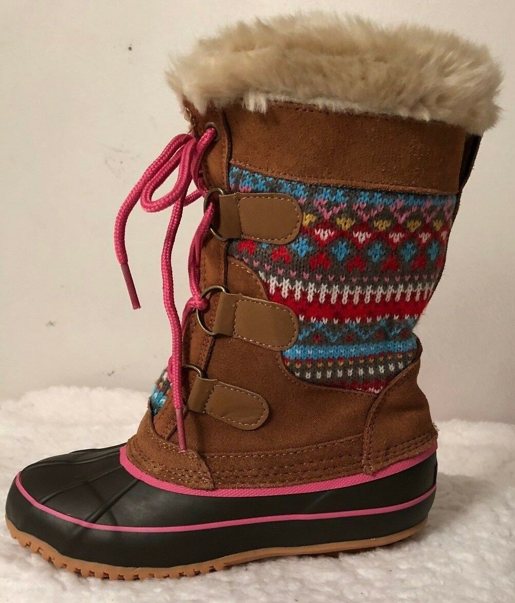 KHOMBU Women Sweater Duck Boot Leather Aztec Faux Fur Lace Up Tan SIZE 3