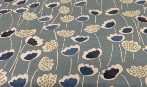 Fun Flores Azul Algodón Cortina De 140cm//Tela Artesanal