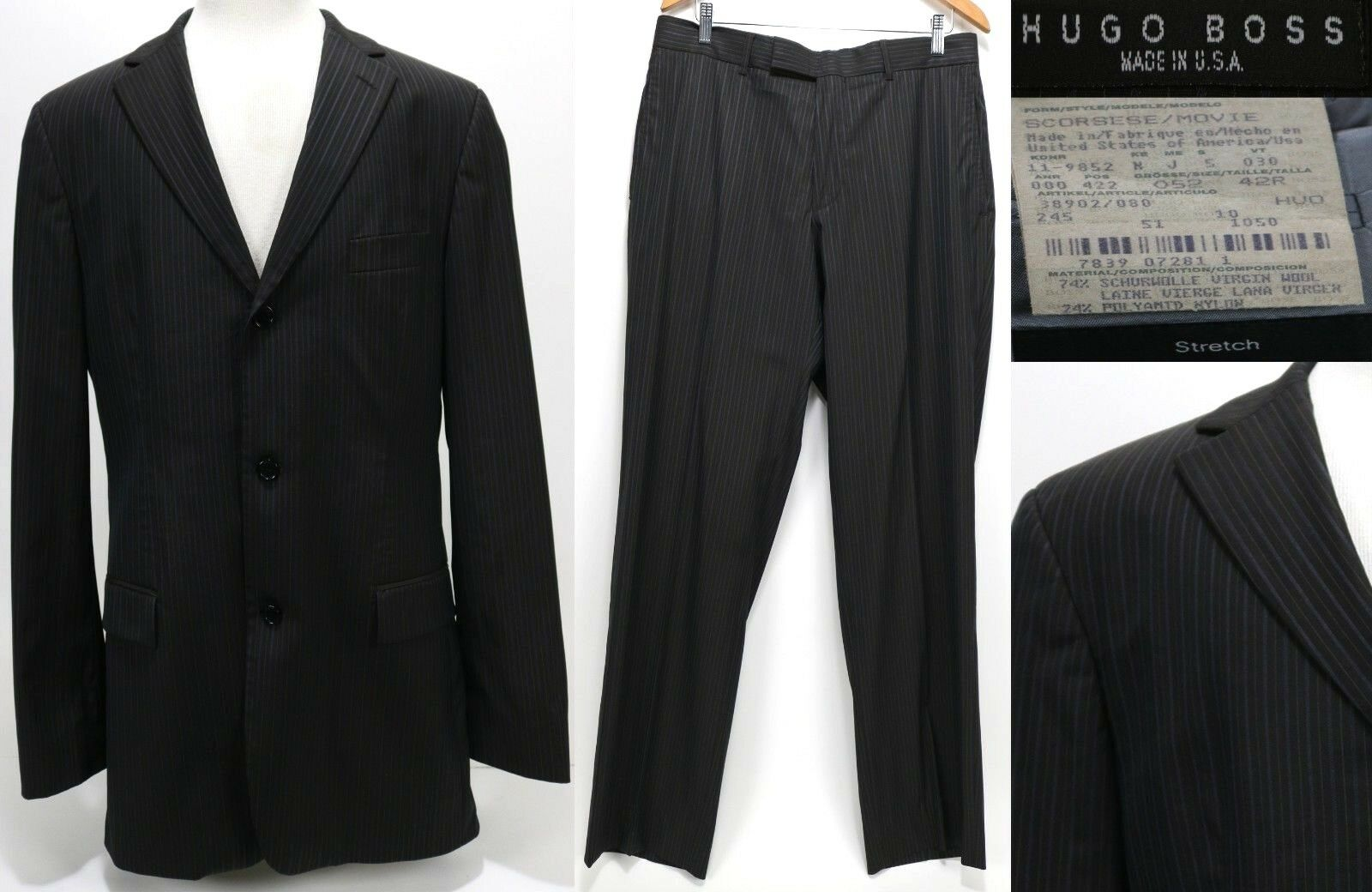 Hugo Boss Men's Suit  Scorsese Movie Size 42R Striped Navy bluee