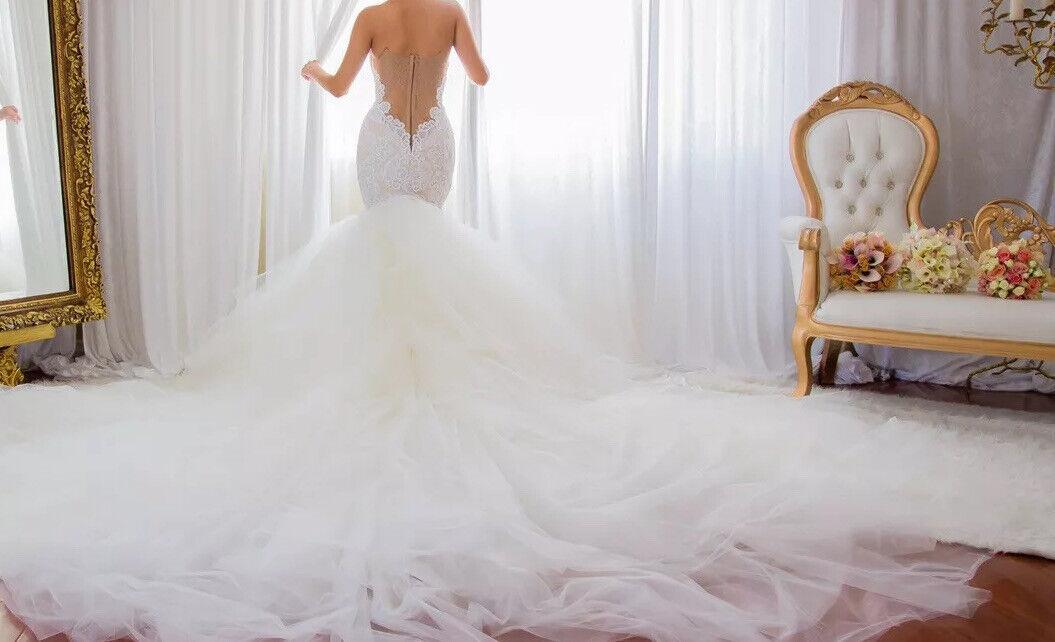 Custom lace crystal couture designer Wedding Dress - image 2