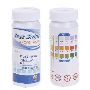 50 Strip Swimming Pool Spa Water Chlorine pH Test Strips Alkaline Testing Strips