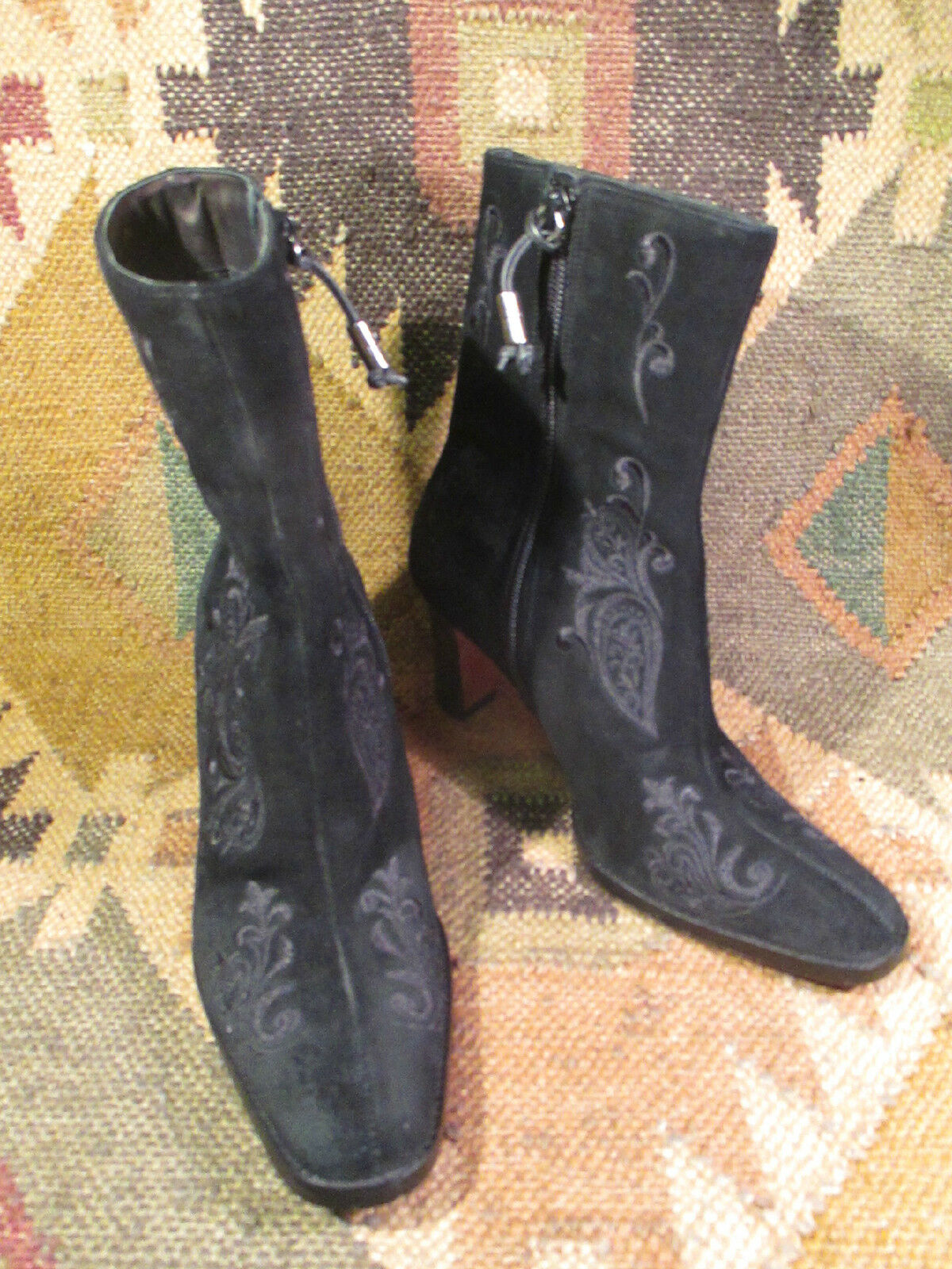 RALPH LAUREN CORINA EMBROIDERY BLACK SUEDE ANKLE BOOTS  Größe 5B made in BRAZIL