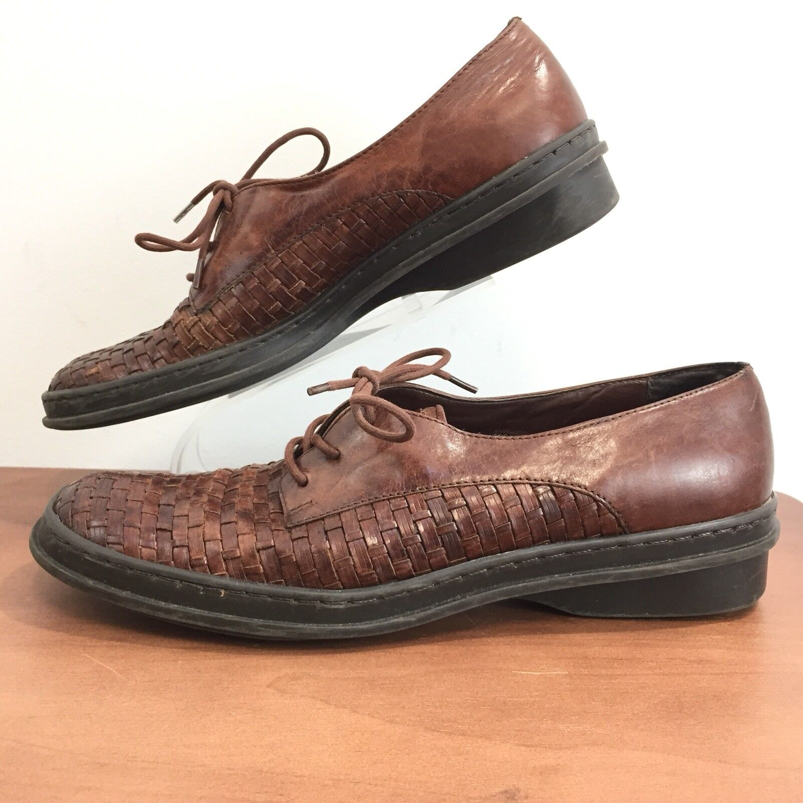 Trotters 7.5N Brown Woven Pelle Lace Up Shoes Cushioned Comfort Donna 7.5 N