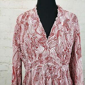 Allison-Taylor-Blouse-Womens-Size-XL-Crinkle-Empire-Waist-Long-Sleeve-Polyester