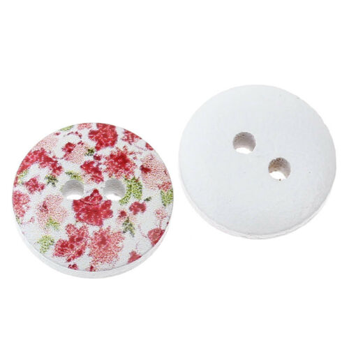 30 PRETTY WOODEN PAINTED BUTTONS 15mm  Sewing ~ Embellishment ~ Knitting 23G