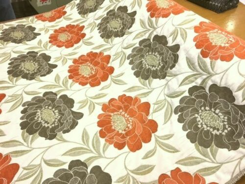 QUALITY TAUPE GREY TERRACOTTA ORANGE FLORAL CURTAIN FABRIC 1//2 PRICE SALE!