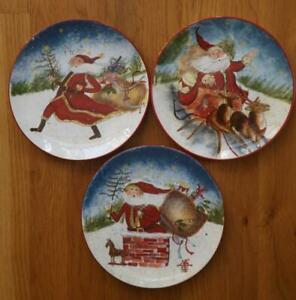 3 Susan Winget Navidad Encantada Santa Ensalada Almuerzo Platos Certified Intn L