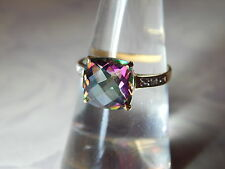 10K YELLOW GOLD 3.2 CT. SQUARE MYSTIC TOPAZ & DIAMOND ACCENT RING ~ SIZE 7