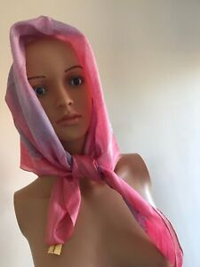 Vintage-Circa-1960s-P-Florence-Paris-Pink-Headscarf-With-Lame-Edging
