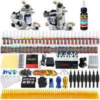 Full Tattoo Supply 2 Pro Machine Guns 54 Inks Power Supply Needles Grips Tips