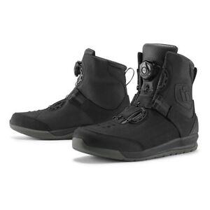 ICON-PATROL-2-Negro-Impermeable-Corta-Moto-Botas-Todas-Las-Tallas