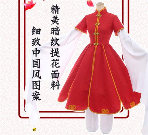 Card Captor SAKURA Red Plum Dress Chinese Tang Suit Adult Dress Cosplay Costume