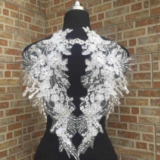 1 Pair Applique Lace Embroidery Trim Sewing Motif DIY Wedding Bridal Crafts