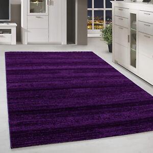 Moderner-Kurzflor-Teppich-Einfarbig-Streifen-Gemustert-Lila-Meliert-Wohnzimmer