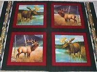 4 Big Game Moose Elk Pillow Panels Fabric Cotton Wildlife Reduced