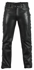 Biker-Jeans-Lederhose-PELLE-JEANS-5-Pocket-JEANS-BIKER-ALLACCIATA-PELLE-mdm812