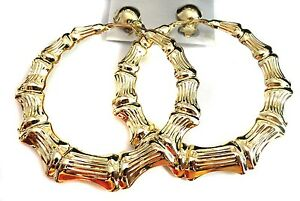 Image Is Loading Clip On Earrings Bamboo Hoop Gold