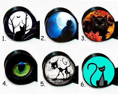 Select 1 pair Black Cat Designs ear gauges tunnel screw backs plugs