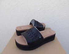 ed19024b1c6 UGG Delaney Black Leather Platform Wedge Slide Sandals US 8  EUR 39 ...