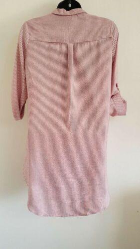 Nouveau Ex DP rose à rayures blanche imprimé boutonné Boyfriend Shirt chemisier Top 8-18