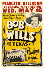 "Bob Wills 16"" x 12"" Photo Repro Concert Poster"