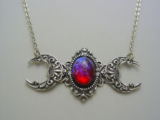 Mexican Glass Fire Opal Dragons Breath Triple Moon Goddess Oxidized Necklace