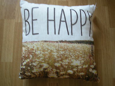 NEXT BE HAPPY FLORAL NATURAL YELLOW BROWN GREEN CUSHION BRAND  NEW