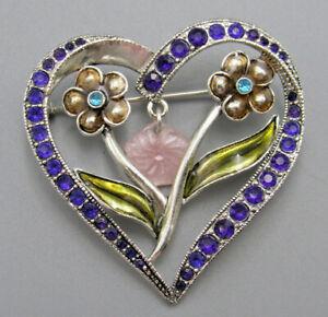 My Grandma S Vintage Jewelry Flower Heart Dangle Brooch