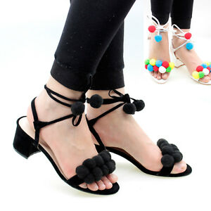 8f8c1221da63 Womens Ladies Pom Pom Sandals Mid Block Heel Peep Toe Party Shoes ...