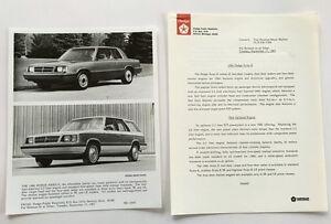 1986 Dodge Aries K 18-page Original Car Sales Brochure Catalog