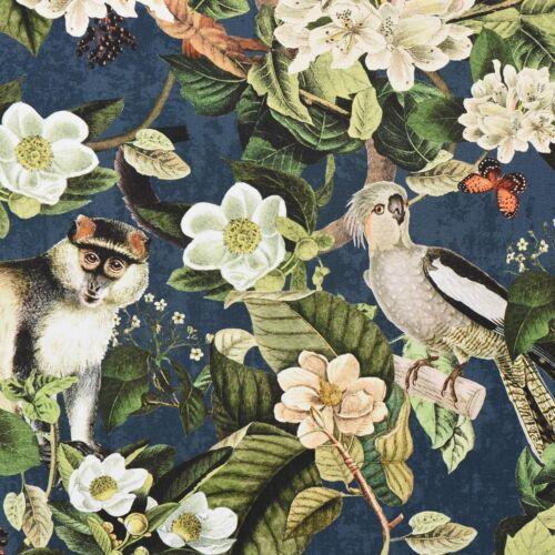 Baumwollstoff Stoff Dekostoff Digitaldruck Affe Vogel Blumen blau grün