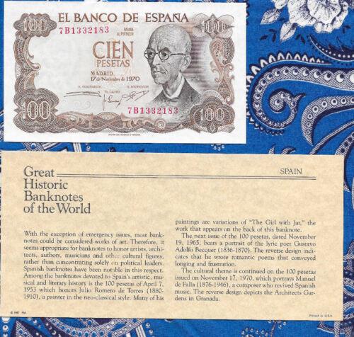 Great Historic Banknotes Spain 100 Pesetas 1970 P 152 AUNC Prefix 7B