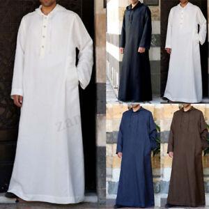 Muslim-Mens-Clothing-Saudi-Arab-Long-Sleeve-Thobe-Islamic-Jubba-Thobe-Kaftan-NEW