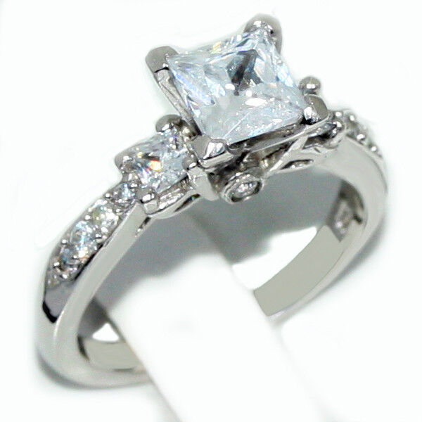 Silver Engagement Ring Past Present Future CZ Princess 925 Sterling