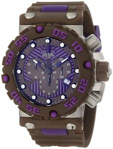 Mens-Invicta-10044-Subaqua-Nitro-Diver-Chronograph-Brown-Purple-Dial-Brown-Watch