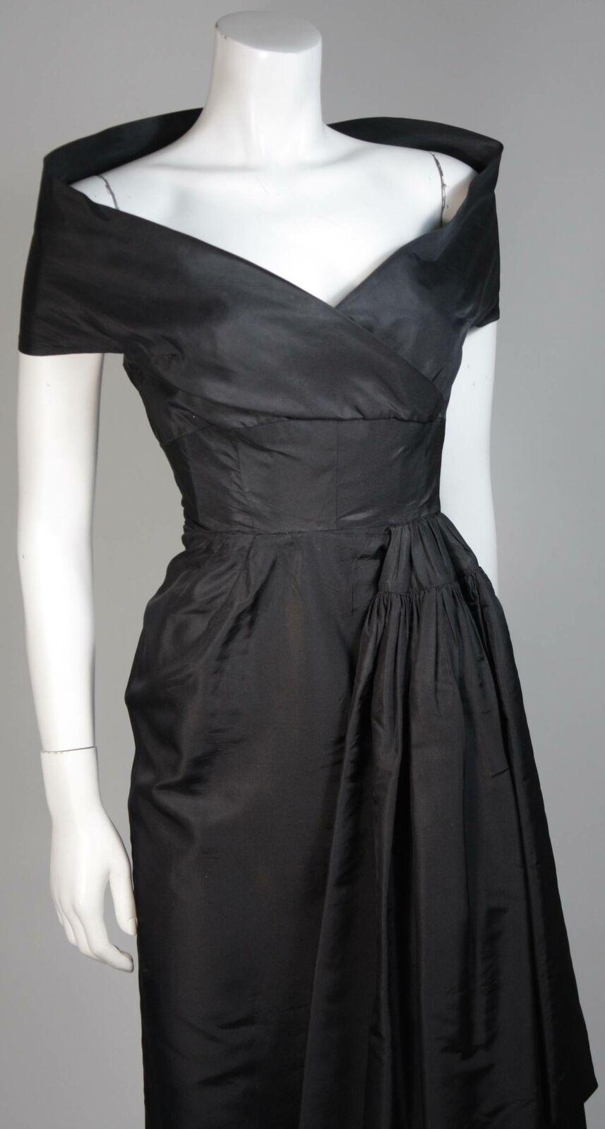 CEIL CHAPMAN  Black Cocktail Dress with Draped De… - image 5