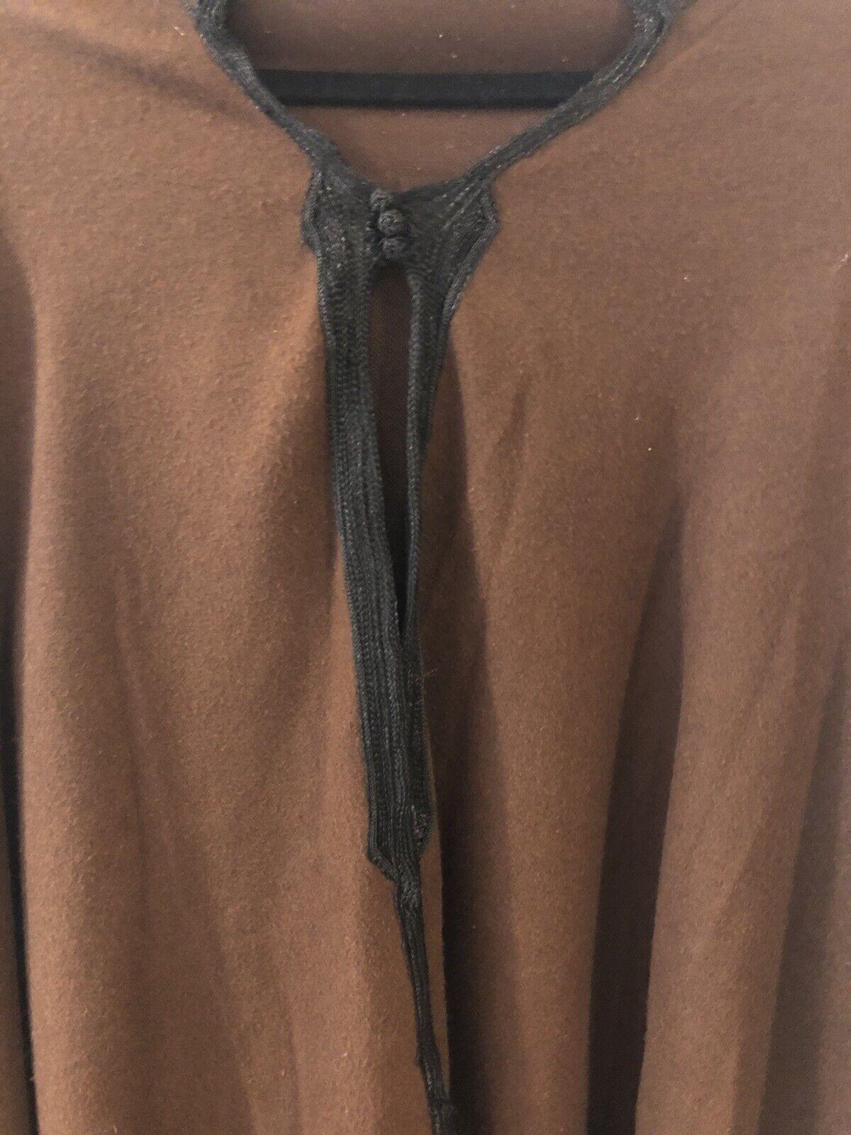 Handmade Moroccan wool cloak Brown Cloak With Hoo… - image 2