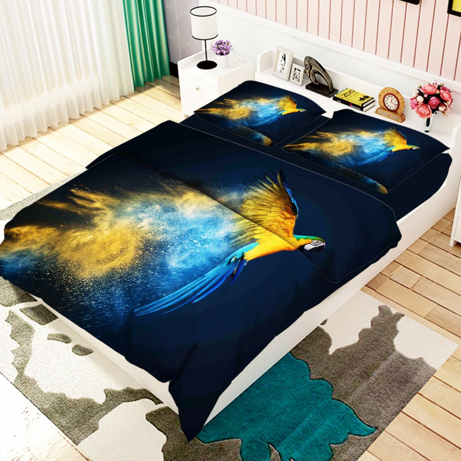 3D Papagei 59 Bett Kissenbezüge steppen Duvet Decken Set Single DE Carly