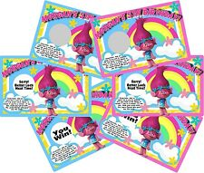 POPPY TROLLS PERSONALIZED SCRATCH OFFS PARTY GAMES CARDS BIRTHDAY GAME FAVORS