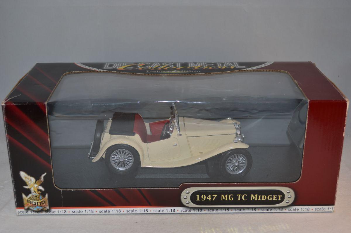 ERTL Yat min Road Signature MG TC Midget 1947 bianca 1:18 mint in BOX