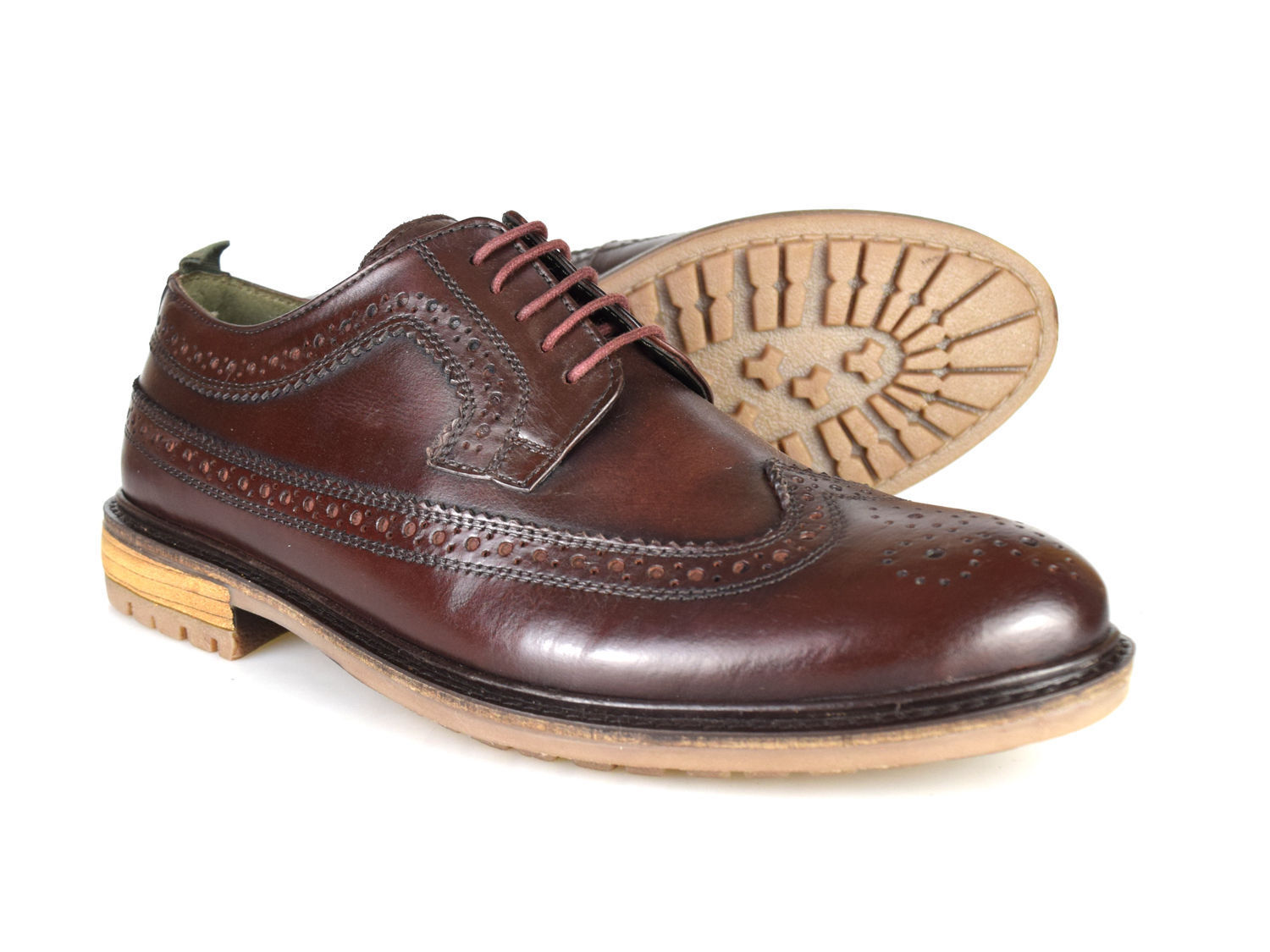 Plata Formal Street London Fenchurch Hombre Burgundy Leather Formal Plata Brogues  £60! ee5f60
