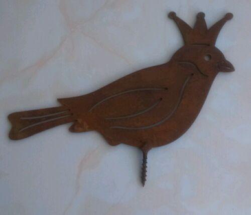 Roitelet Edelrost Oiseau Jardin Déco Rouille Déco clôture-Tabouret filetées 16 cm