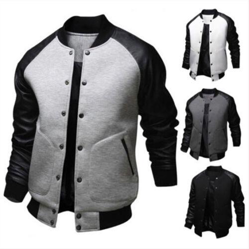 Men Winter Warm Casual Baseball Long Sleeve Jacket Coat Bomber Slim Fit Outwear