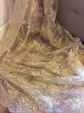 1 MTR GOLD SCALLOPED EMBROIDED SEQUENCE CRYSTAL BRIDAL LACE NET FABRIC £9.99