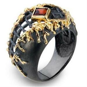 Herren-18k-Gold-Gefuellt-Schwarz-Band-Ring-Hochzeit-Schmuck-Verlobung-Geschenk-Groesse-6-10