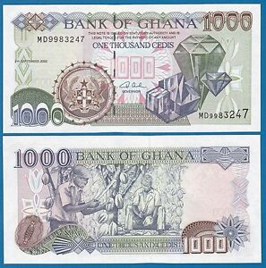 Image Is Loading Ghana 1000 Cedis P 32 H 2002 Unc